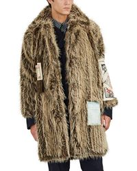 Martine Rose - Flyer-appliquéd Faux-fur Coat - Lyst