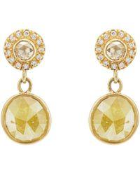 Zoe - Yellow & White Diamond Drop Earrings - Lyst