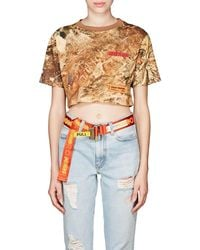 Heron Preston Camouflage Cotton Crop Top Size M