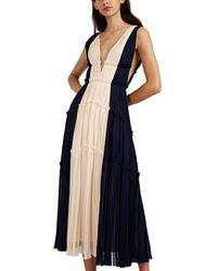 J. Mendel - Colorblocked Silk Plissé Cocktail Gown - Lyst