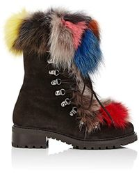 Barneys New York - Fur-trimmed Nubuck Ankle Boots - Lyst