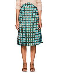 Barneys New York Geometric-print Crepe A-line Skirt - Blue