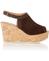 Barneys New York - Suede Platform Wedge Sandals - Lyst