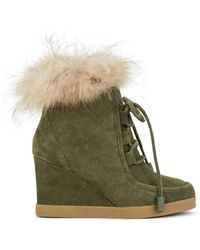 Barneys New York - Suede Platform-wedge Ankle Boots - Lyst