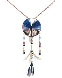 Valentino - Feather-embellished Beaded Butterfly Necklace - Lyst