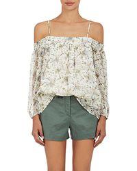 Barneys New York | Floral Plissé Chiffon Blouse | Lyst
