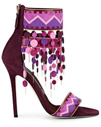 Brian Atwood Lalopez Confetti-fringed Leather Ankle-strap Sandals