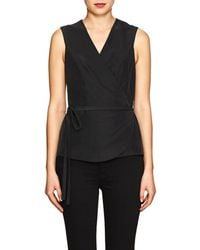 Barneys New York - Washed Plain-weave Wrap Blouse - Lyst