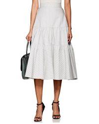 5b9eada0e0 CALVIN KLEIN 205W39NYC - Striped Silk-cotton Tiered Full Skirt - Lyst