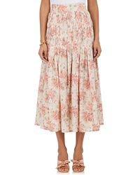 Brock Collection - Smocked Floral Cotton Voile Skirt - Lyst