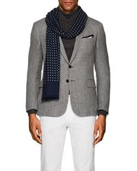 Drake's - Dotted Wool-silk Scarf - Lyst