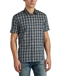 John Varvatos - Officer Plaid Cotton Shirt - Lyst