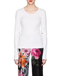Helmut Lang - Cutout Rib-knit Cotton T-shirt - Lyst