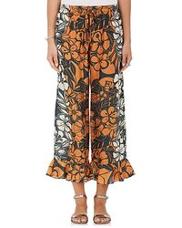 Warm - Rain Floral Silk Crop Trousers - Lyst