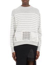Sacai Luck - Eyelet-panel Stripe Sweater - Lyst