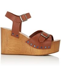 Barneys New York - Leather Wedge Sandals - Lyst