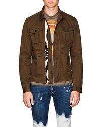 DSquared² - Leather-trimmed Cotton Twill Military Jacket - Lyst
