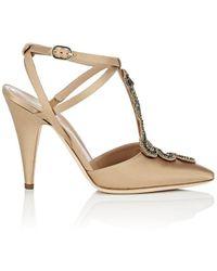 Alberta Ferretti - Embellished Satin Ankle-strap Pumps - Lyst