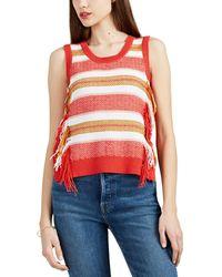 10 Crosby Derek Lam - Striped Cotton-blend Fringed Sleeveless Jumper - Lyst