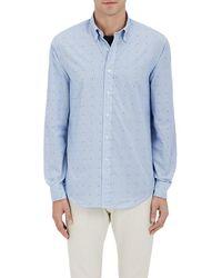 Barneys New York - Dotted & Striped Cotton Poplin Shirt - Lyst