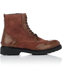 Barneys New York - Suede & Leather Wingtip Ankle Boots - Lyst
