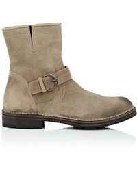 Barneys New York - Waxed Suede Moto Boots - Lyst