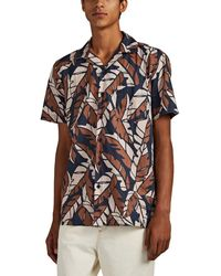 Onia Abstract-leaf Cotton Camp-collar Shirt - Blue