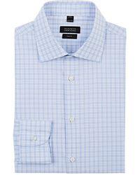 Barneys New York - Checked Cotton Poplin Dress Shirt - Lyst