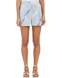 Thierry Colson - Striped & Checked Cotton Voile Shorts - Lyst