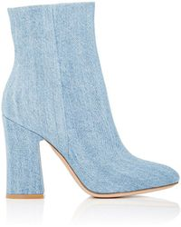 Gianvito Rossi - Shelly Denim Ankle Boots - Lyst