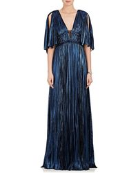 J. Mendel - Pleated Silk-blend Lamé Deep V-neck Gown - Lyst