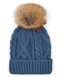 Crown Cap - Fur Pom-pom Cable-knit Beanie - Lyst