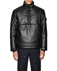 Stone Island - Insulated Leather Coat - Lyst