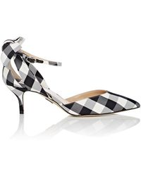 Paul Andrew - Anya Gingham Ankle-strap Pumps - Lyst