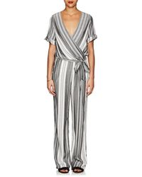 Barneys New York - Striped Belted Jumpsuit - Lyst