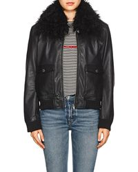 William Rast - Lamb-shearling-collar Bomber Jacket - Lyst