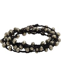 Feathered Soul - Pyrite Bead & Braided Silk Wrap Bracelet - Lyst
