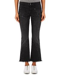 Stella McCartney - Frayed-star Crop Flared Jeans - Lyst