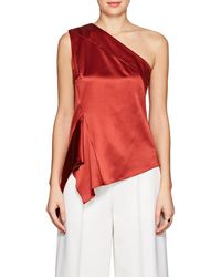 Narciso Rodriguez - One-shoulder Handkerchief-hem Silk Top - Lyst