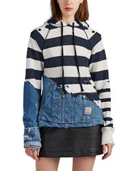 Greg Lauren - The Mariner Striped Mixed-media Hoodie - Lyst