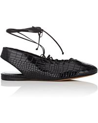 Alumnae - Stamped-leather Lace-up Flats - Lyst