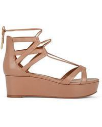 Aquazzura - Beverly Hills Leather Ankle-tie Platform Sandals - Lyst