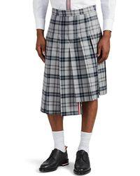 Thom Browne - Plaid Wool-blend Knee-length Pleated Skirt - Lyst