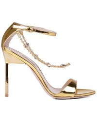 b5f3cdbfa7e Lyst - Miu Miu Embellished Metallic Leather Sandals in Metallic
