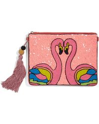 BaubleBar - Flamingo Sequin Zip Clutch - Lyst