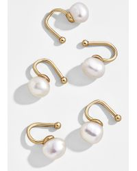 BaubleBar Aleah Pearl Ear Cuff Set - Metallic