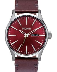 Nixon | Gunmetal/burgundy Sentry Leather Watch With Burgundy Horween Leather | Lyst