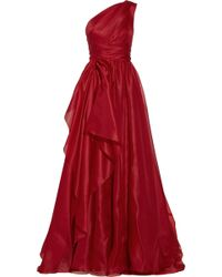 Marchesa One Shoulder Draped Silk Gazar Gown - Lyst
