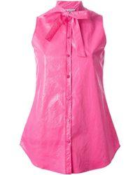 Moschino Cheap & Chic Sleeveless Bow Detail Shirt - Lyst