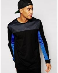Asos Skater Long Sleeve T-Shirt With Rip Stock And Mesh Cut And Sew - Lyst